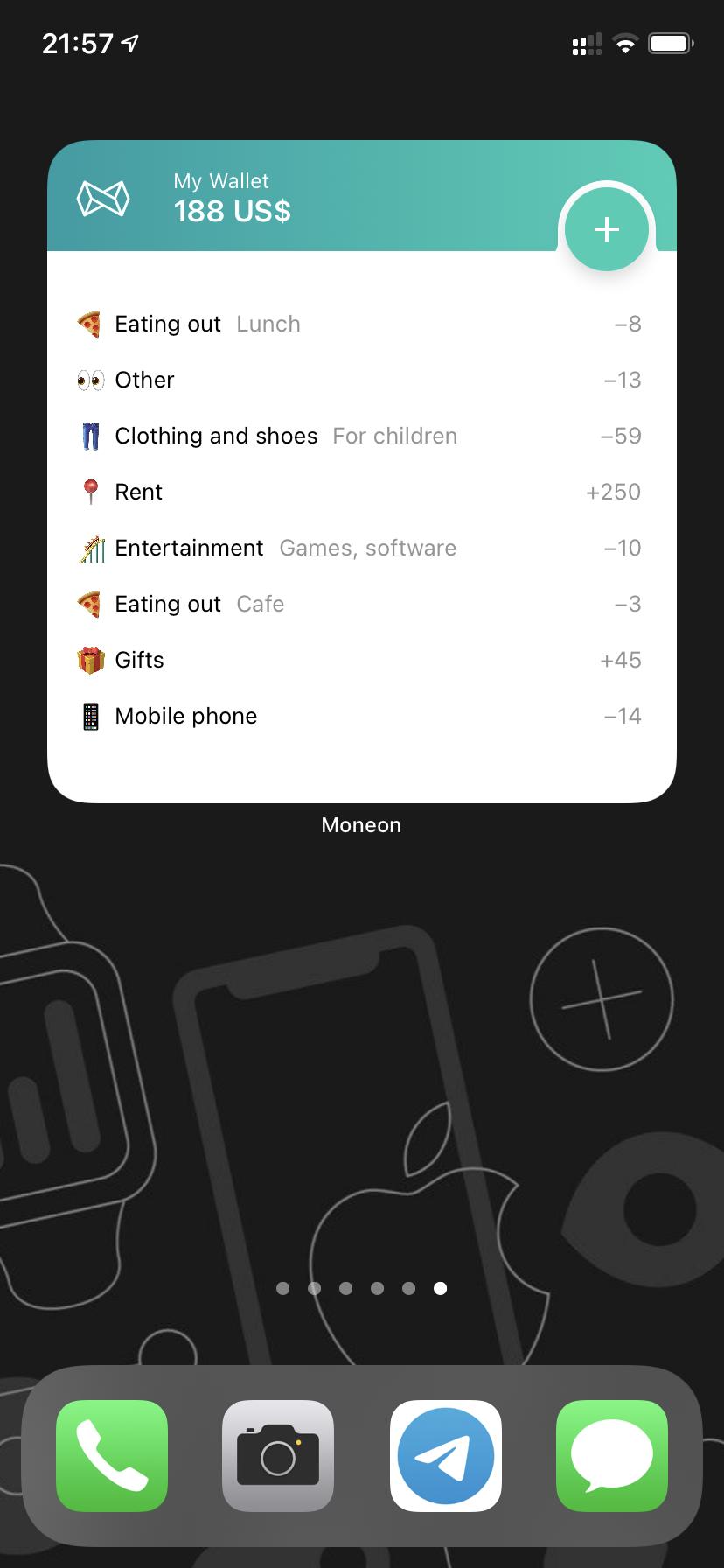 A screenshot of the widget iOS14 2